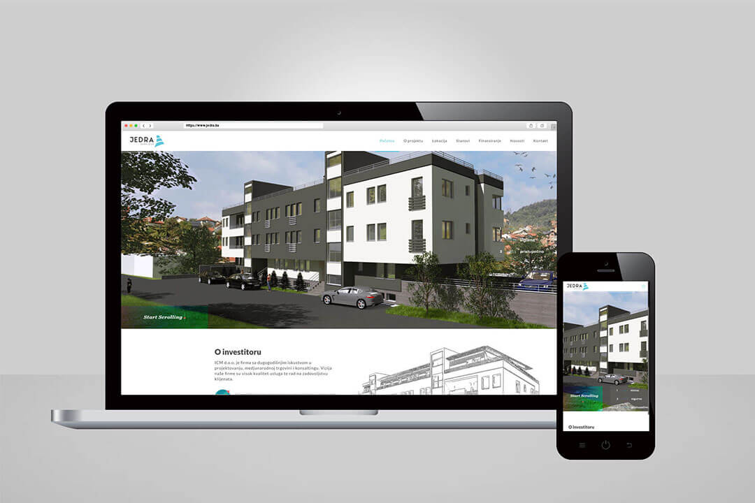 Project Jedra Sarajeva Real Estate, Website Design, SEO Optimization, Digital Marketing, Facebook, Social Media